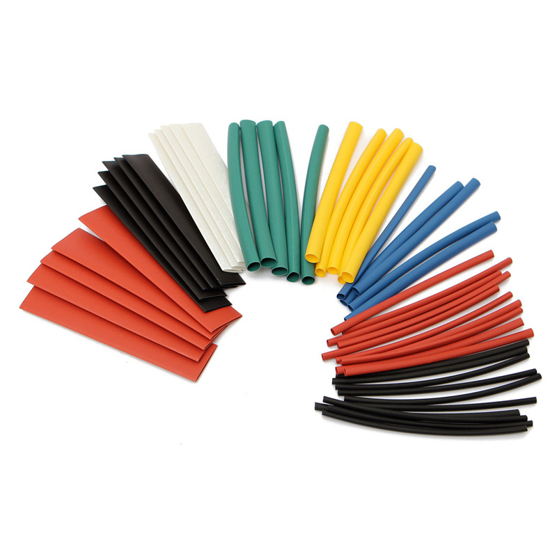 50pcs 90mm Polyolefin 2:1 Halogen-Free Heat Shrink Tube Sleeving Kit 8 Sizes 6 Colors