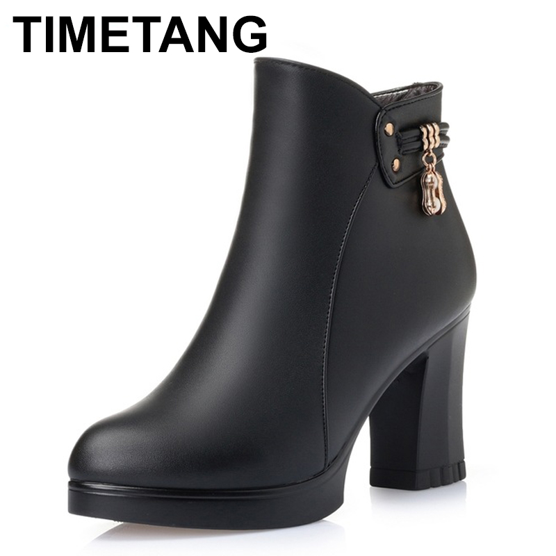 TIMETANG    Autumn Winter Fashion Shoes Woman Genuine Leather Boots Ladies Thick High Heel Ankle Boots Party Shoes Size 35-40TIMETANG    Autumn Winter Fashion Shoes Woman Genuine Leather Boots Ladies Thick High Heel Ankle Boots Party Shoes Size 35-40