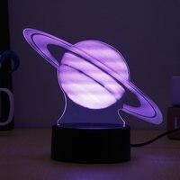 Visual coloridos 3D planeta Júpiter LED lámpara de mesa luz de noche calmante USB controlador remoto Navidad partido Decoración para el hogar