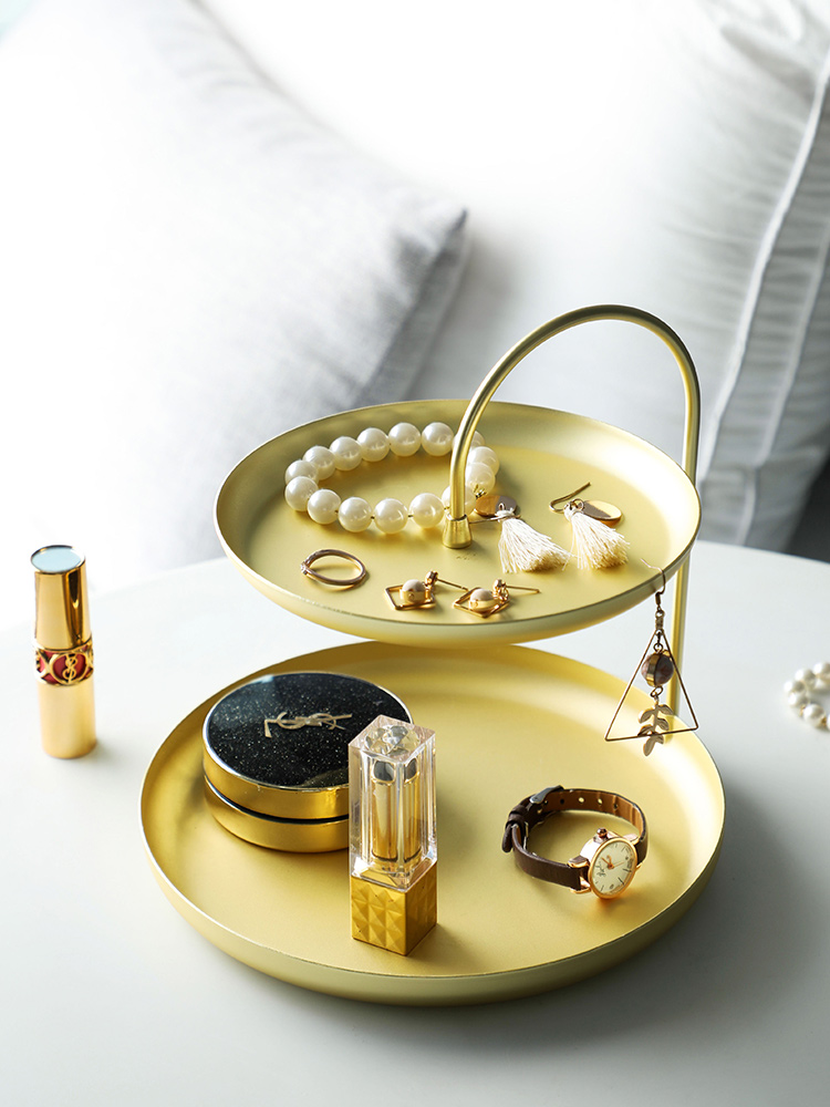 Nordic Double decker Jewelry Receptacle Home Key Cosmetics Receptacle Box Eardrop Tray Jewelry Box Shelf Rack Decorative Shelves
