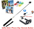 3in1 Bluetooth Shutter Remote Controller Button+Extendable Stick Handheld Monopod+Phone Holder for iPhone Huawei Xiaomi