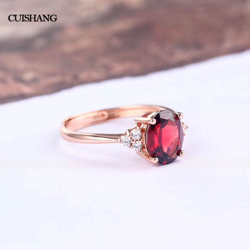 CSJ Natural Garnet Rings 925 Sterling Silver For Women Wedding Party Gift Fine Jewelry csj 100