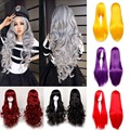 60cm Long Curly Black/Red/Pink/Purple 11Colors Anime Cosplay Wig, High Quality Womens Party Kanekalon Fibre Synthetic Hair Wigs