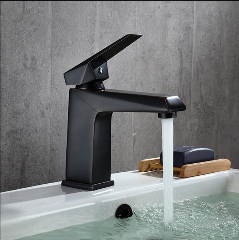 Free Shipping Basin Faucet ORB finished sink faucet Black bathroom Water Mixer hot and cold sink faucet,basin tap mixer modern bathroom products chrome finished hot and cold water basin faucet mixer single handle water sink faucet tap torneira