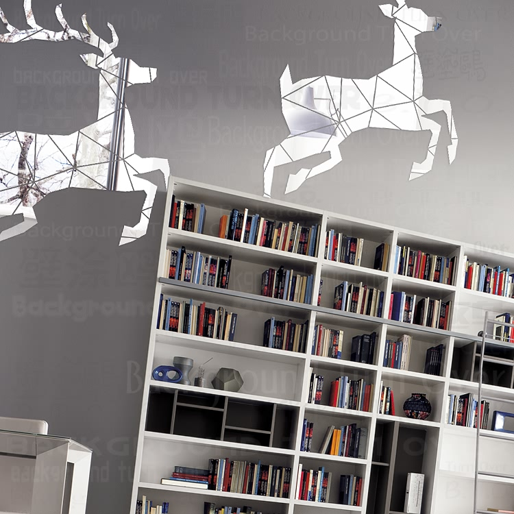 Creative De Noël Rennes 3d miroir stickers muraux Elk home decor mur salon décoration en plastique miroir poster deer R129