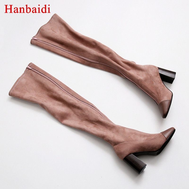 Hanbaidi Cow Suede Over The Knee Boots Woman Square Toe Chunky High Heel Shoes Women Front Zipper Fashion Long Boots Shoes Women