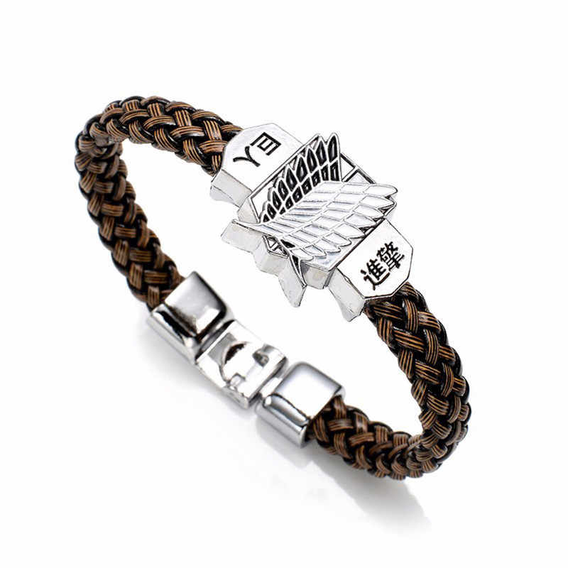 New Fashion Anime Attack On Titan Charm Bracelet Shingeki No Kyojin Cosplay Unisex Leather Bracelets Wristband Bangles Wristlet