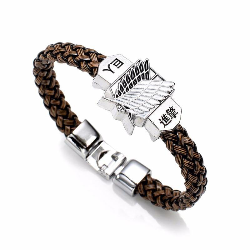 New Fashion Anime Attack On Titan Charm Bracelet Shingeki No Kyojin Cosplay Unisex Leather Bracelets Wristband Bangles Wristlet