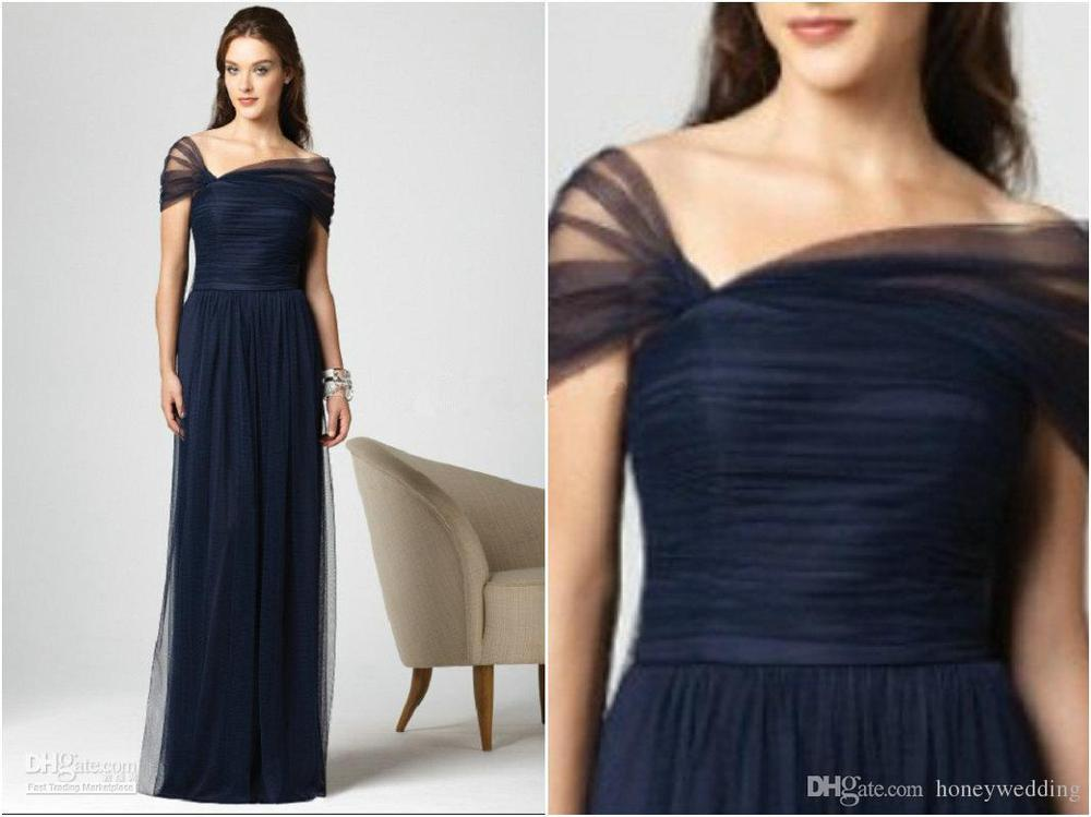 Kate Middleton New Arrival Dark Navy Blue Bridesmaid Dresses Tulle Cap Sleeves Floor Long Pleated A Line Bridemaids Wedding Part On Aliexpress Alibaba