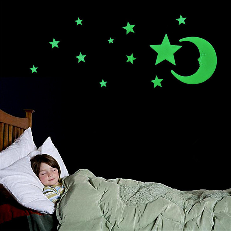 Stereoscopic Romantic Moon Star Night Fluorescence Stick Night Light Wall Stick For Child Bed Room Activity Room Decoration