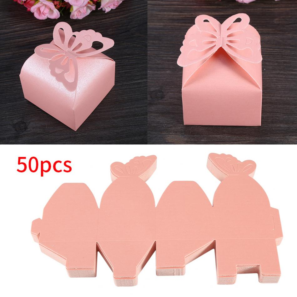 50pcs/set DIY Folding Hollow Butterfly Candy Boxes Decoration Gift ...