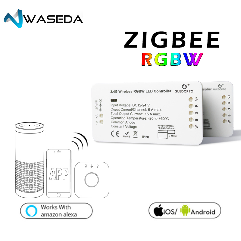 Contrôleur de bande de LED de contrôle de LED de contrôleur de ZIGBEE de WASEDA zigbee DC12-24V rvb + CCT WW/CW contrôleur de bande de LED RGBW rvb