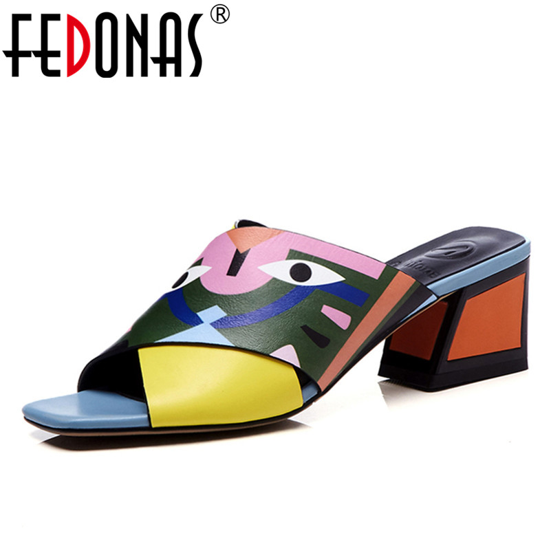 FEDONAS Women Sandals High Heels New Prints Summer Fashion Gladiator Genuine Leather Sandals Platform Shoes Woman Casual Slipper donna in 2018 women genuine leather slipper platform high heels sandals ladies shoes thick heel casual slippers fashion styles