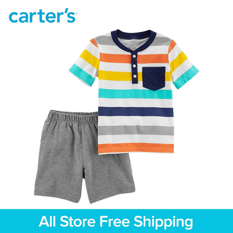 цена на Carter's 2-Piece Jersey Top & French Terry Short Set boy summer baby children kids clothing 249G629