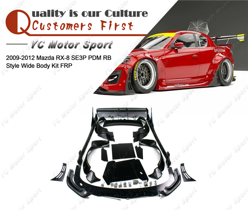 FRP Fiber Glass PD RB Style Bodykits Fit For 2009-2012 <font><b>RX8</b></font> SE3P Body Kit Front Lip Spitter Fender Flare Side Skirt Rear <font><b>Wing</b></font> image