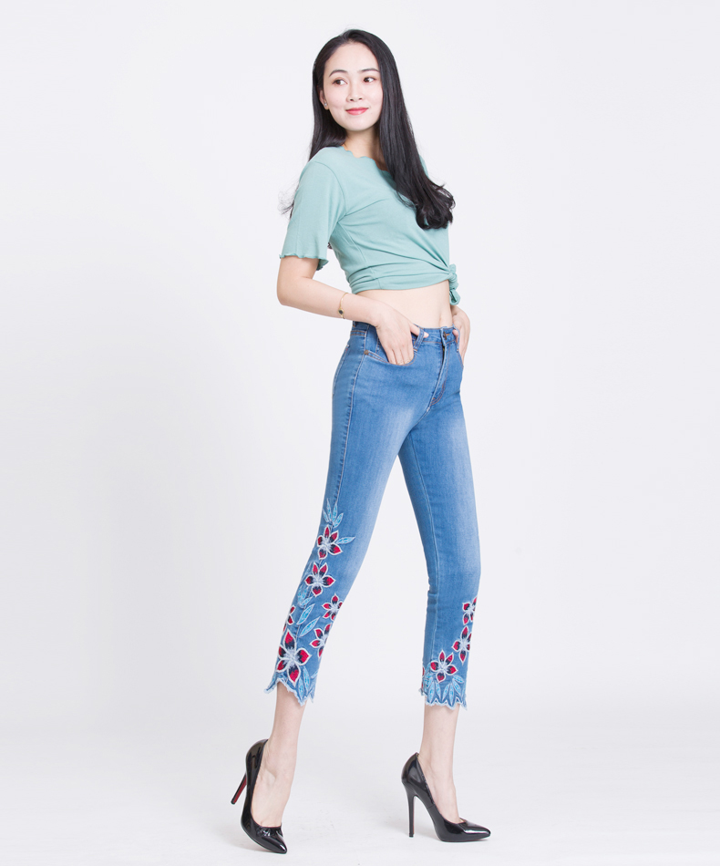 KSTUN FERZIGE Summer Jeans Women Embroidery High Waist Stretch Floral Push Up Skinny Slim Fit Pencils Calf-Length Pants Light Blue 36 15