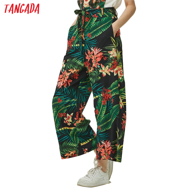 Tangada Women Floral Print Green Trousers High Waist Sashes Zippers Fashion Female Summer Wide Leg Pants  Cozy Pants XD62
