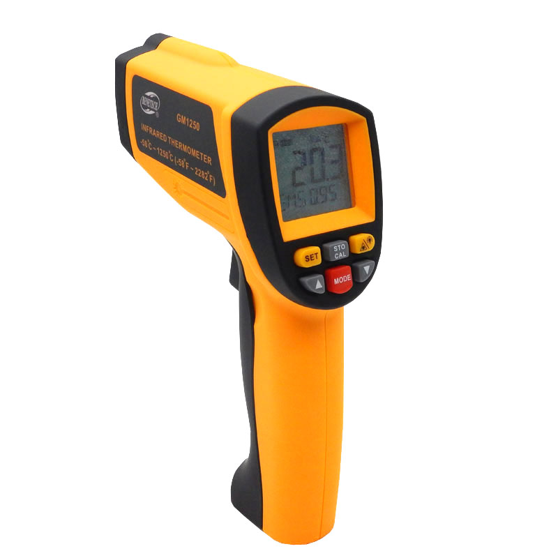 Non contact infrared thermometer LCD Digital GM1250 Temperature Pyrometer IR Laser Point Gun EMS 0.1-1.0 -50~1250C(-58~2282F) digital infrared ir thermometer laser temperature gun non contact 50 1 with lcd backlight gm1350 18 1350c 50 1
