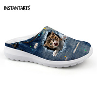 INSTANTARTS Vintage Denim Animal Printed Men Summer Sandals Breathable Mesh Beach Water Slippers Male Pet Cat Casual Flats Shoes