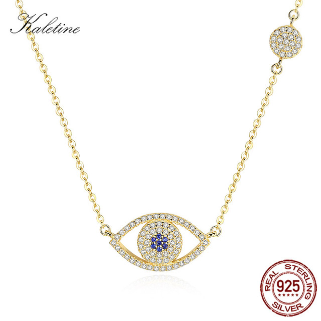 KALETINE Lucky Evil Eye Necklace 925 Sterling Silver Yellow Gold Pendant  Round Good Luck Blue Eyes Charm Women Jewelry KLTN058 1327de4a77