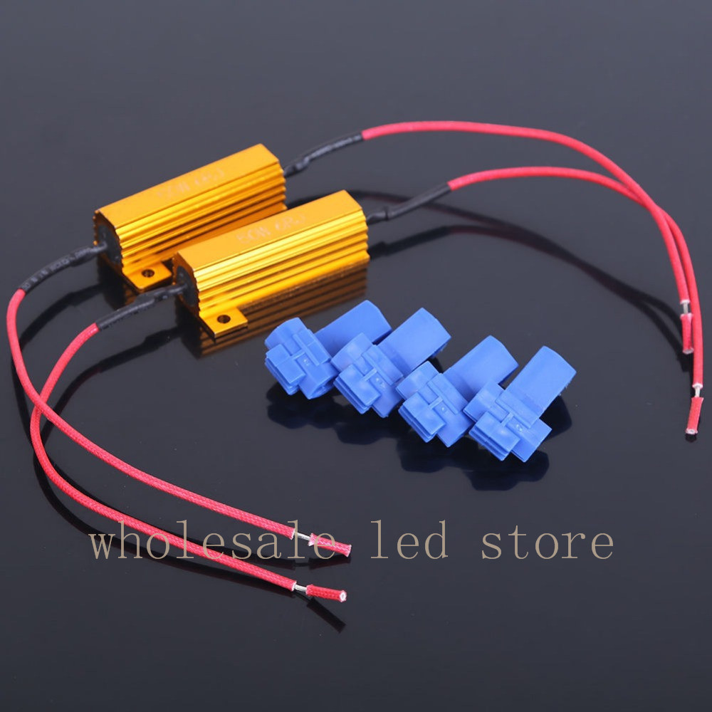 4pcs 50w Fuse 6ohm Led Bulb Light Turn Signal Load Resistor Capacitors Added To Driver Circuit Resistance Fix Error Flash Blinker Warning Controller Capacitor In Car Headlight Bulbsled From
