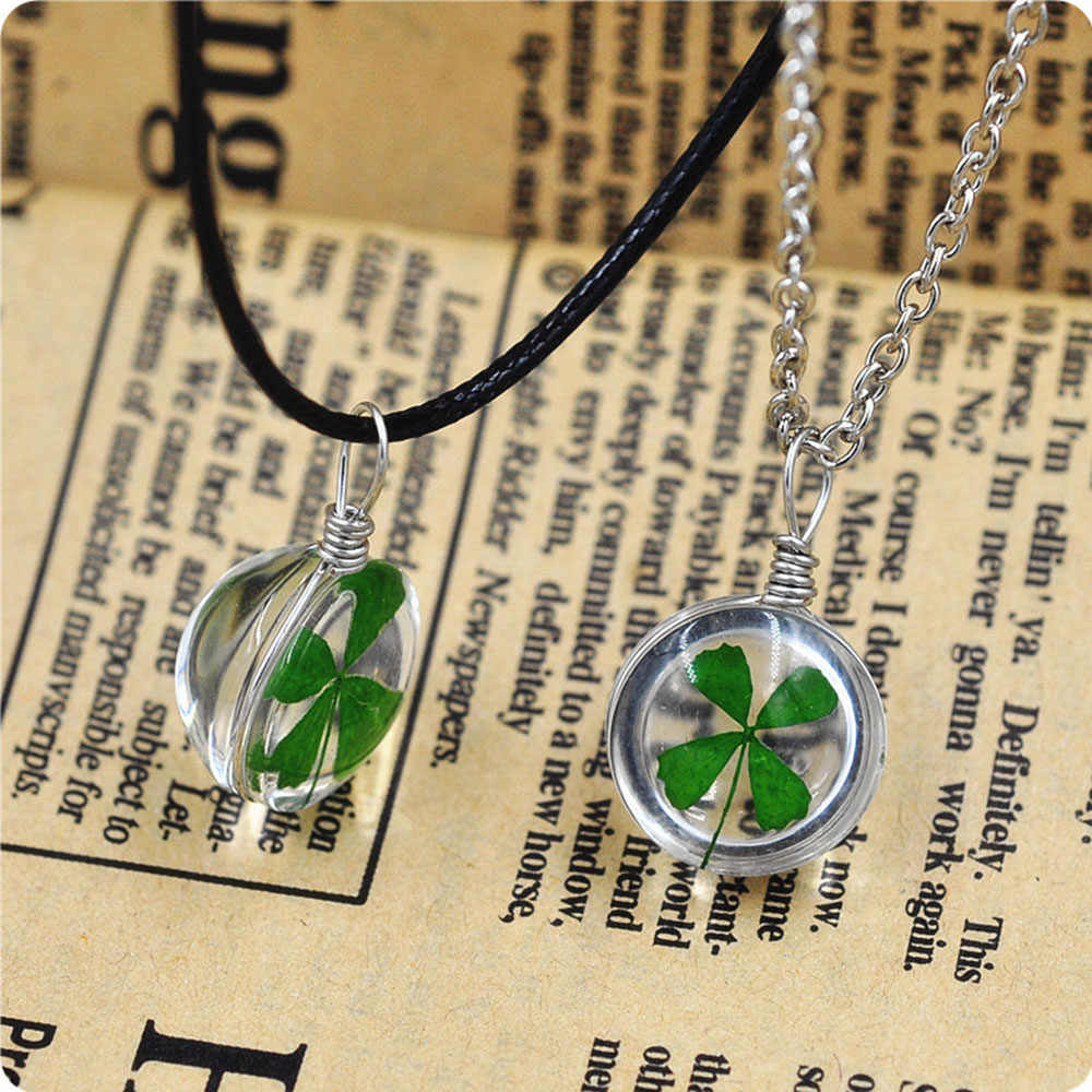 New Fashion Real Green Lucky Shamrock Four Leaf Clover Round Pendant Necklace Couple Gift
