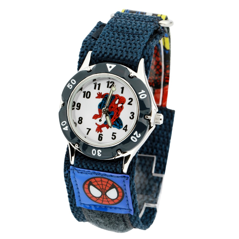 500pcs/lot Mixed Wholesales Spiderman 3D Cartoon Kids Christmas Gifts Clock Watch Fashion Students Nylon Strap Wrist Watch DHL