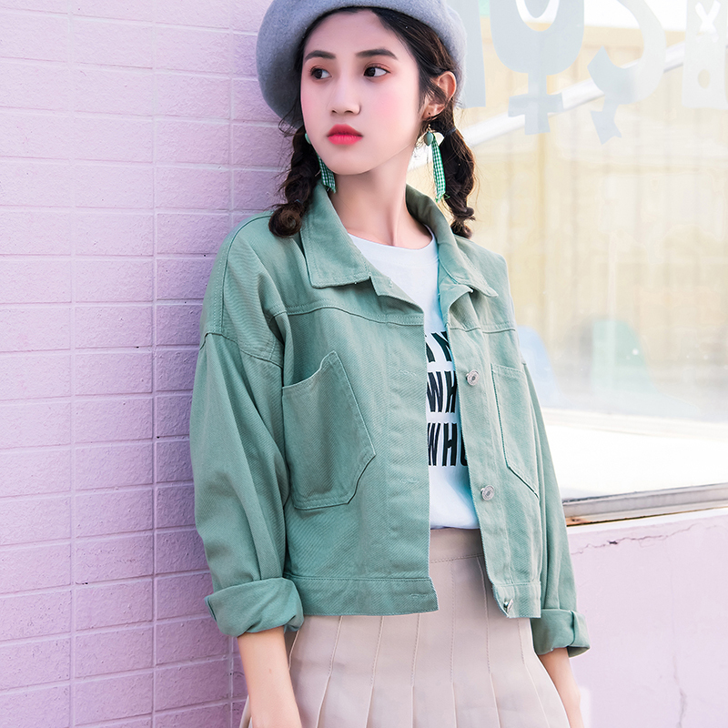 Denim Jacket Short Paragraph Female Student Fashion on The Streets 2019 New Spring Tide Wild Loose Blouses Autumn White