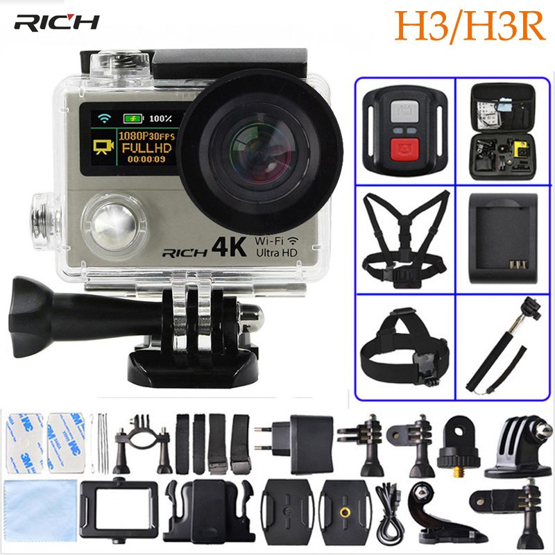 RICH Action Video Camera H3 HD 4K Wifi 1080p 60fps H3R 2.4G Controller Mini Camera Dual Screen Wide Angle Sport Camera soocoo 360h wifi 360 degree panorama vr 4k camera 1080p 60fps full hd lcd screen mini sport action camera with remote controller