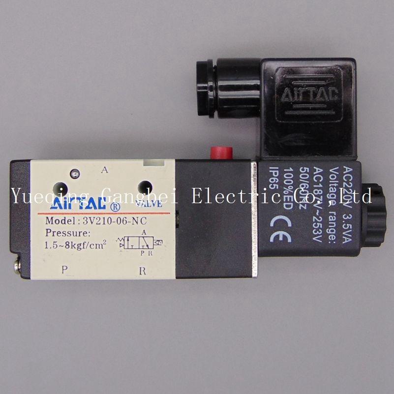 3V210-06 G1/8  3Port 2Position Pneumatic Solenoid Valve Aluminum Alloy  AC110V AC220V AC380V AC24V 24V DC 12V DC