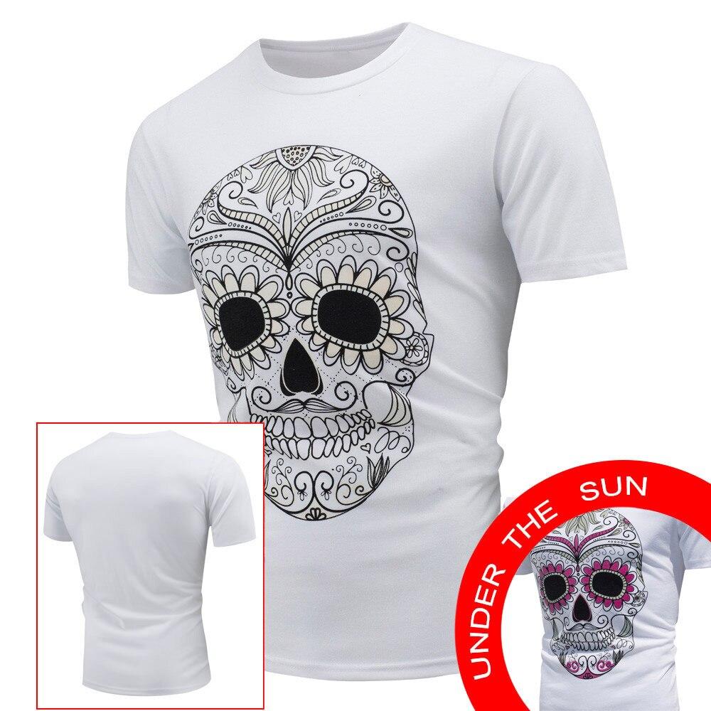 2017 Colorful Head Print Scolour Men's Tops T-Shirt Encounter Sun Color Change Short Sleeve T-Shirt  XXL High Quality