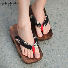 WHOHOLL Original Geta Japanese Clogs Womens Kimono Shoes Cosplay Costumes Two-teeth Flip Flops Slippers Thick Bottom