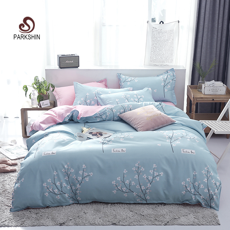 ParkShin Fresh Style Home Bedding Blue Bedspread Bedding Set Double Flat Sheet Pillowcases Euro Decor Bed Linen Stain For Adult