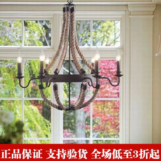 American country Vintage style Wrought Iron hemp rope chandelier Mediterranean living room american countryside style rope vintage wrought iron chandelier creative dining room chandelier old coffee bar e14 wpl163