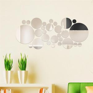 Image 2 - 30 adet/takım DIY küçük yuvarlak nokta akrilik ayna etkisi Sticker duvar Sticker ayna yüzey duvar çıkartmaları ev dekorasyon 2 renk