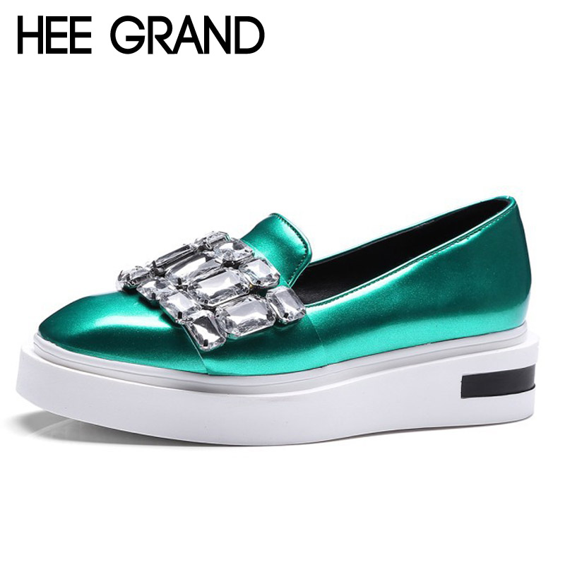 HEE GRAND Crystal Loafers 2017 New Creepers Bling Platform Shoes Woman Slip On Flats Casual Women Shoes Plus Size 35-43 XWC1111 phyanic crystal shoes woman 2017 bling gladiator sandals casual creepers slip on flats beach platform women shoes phy4041