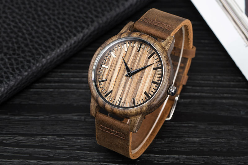 SIHAIXIN Man Watches Classic Luxury Leather Straps Quartz Male Clock Engraved With Personal Text Wood Wristwatch Gift For Him 9