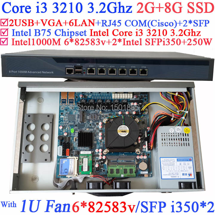Intel Core i3 3210 3.2Ghz 1U router with SFP 6*1000M 82574L Gigabit Nics 2* intel i350 SFP 2G RAM 8G SSD intel pentium g2020 2 9g 1u network firewall router with six intel pci e 1000m 82574l gigabit lan mikrotik ros etc 2g ram 8g ssd