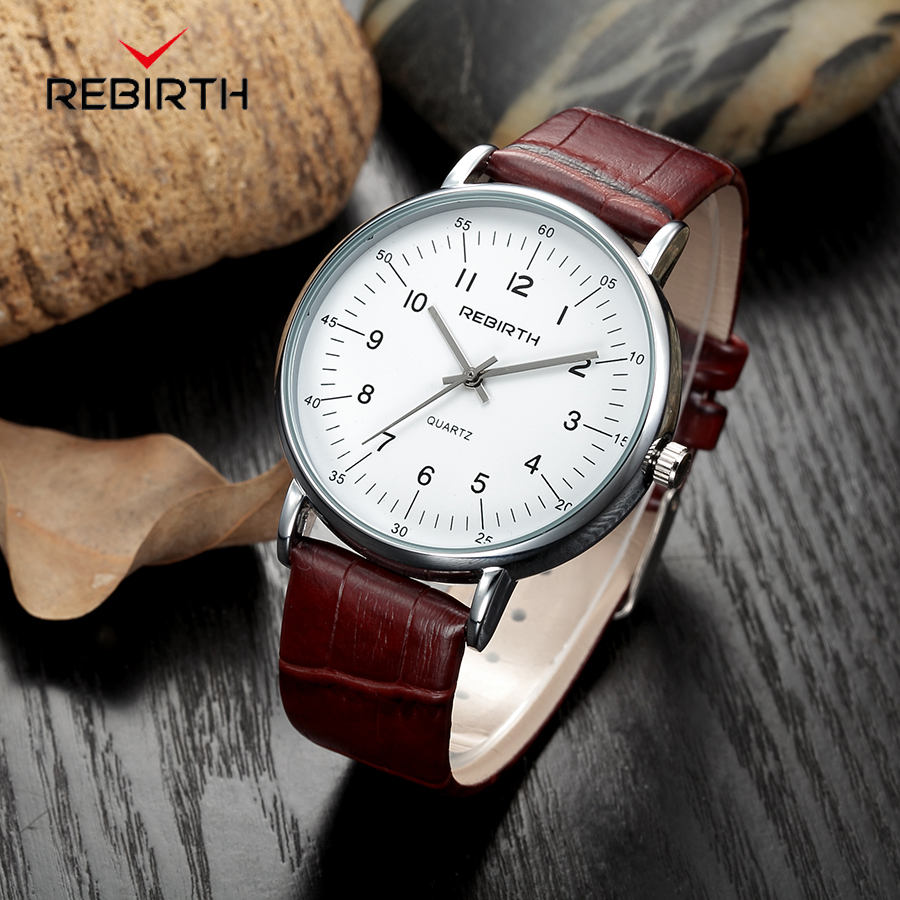 REBIRTH Top Brand Luxury Men's Watch Wrist Watches Business Watch Men Leather Strap Clock Men relogio masculino reloj hombre 2017 fashion men watches top brand luxury function date leather sport watch male business quartz wrist watch reloj hombre