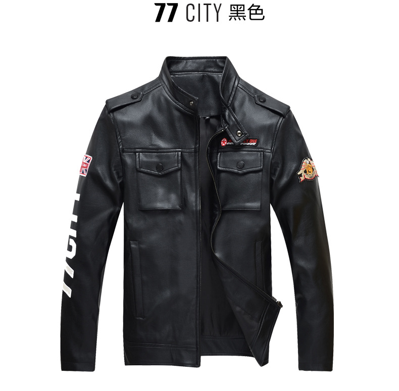 Macfion Male Brand leather clothing slim men's PU clothing design stand collar short motorcycle leather jacket outerwears