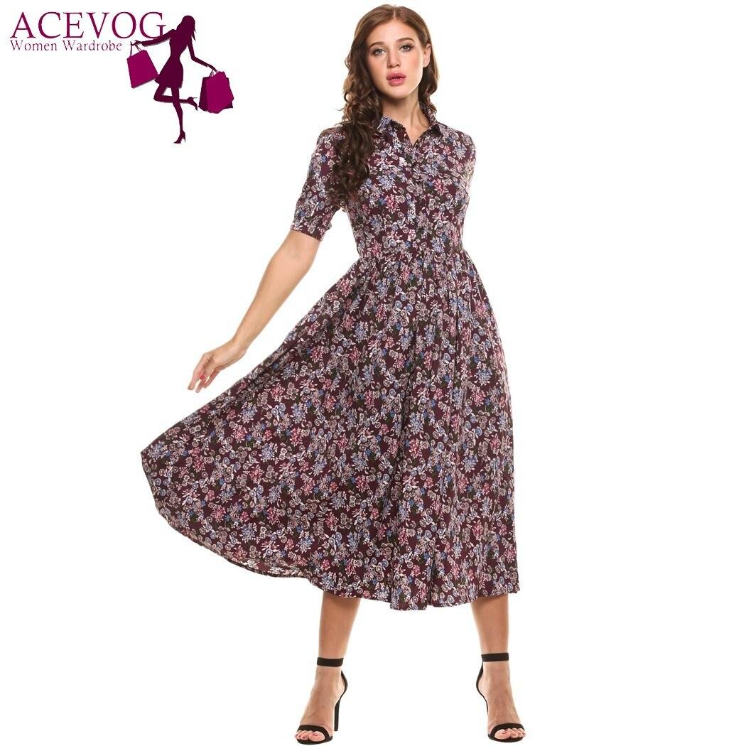 ACEVOG Autumn Floral Print Long Maxi Dress Women Vintage Peter Pan Collar Short Sleeve High Waist Dresses Retro Robe Vestidos