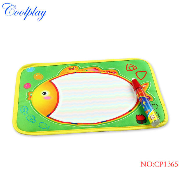 Coolplay 29X19cm Fish colorful drawing Water Doodle mat 1 Magic Pen water Drawing board Aquadoodle Mat Christmas Gift CP1365