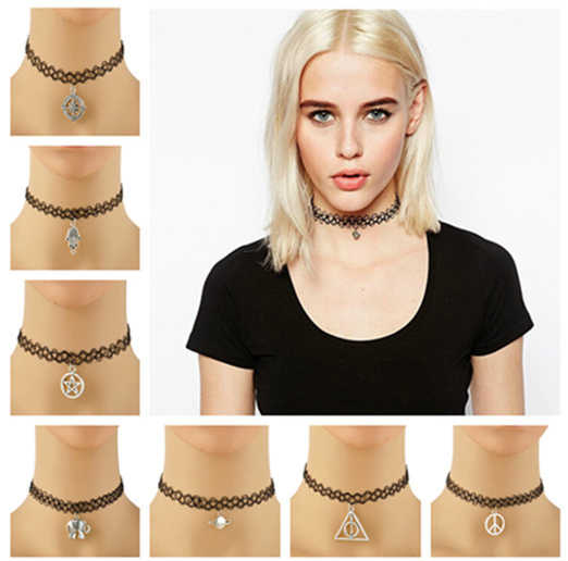 Handmade Hot Selling Vintage Stretch Tattoo Choker Necklace Gothic Punk Grunge Henna Elastic with Pendant Necklaces