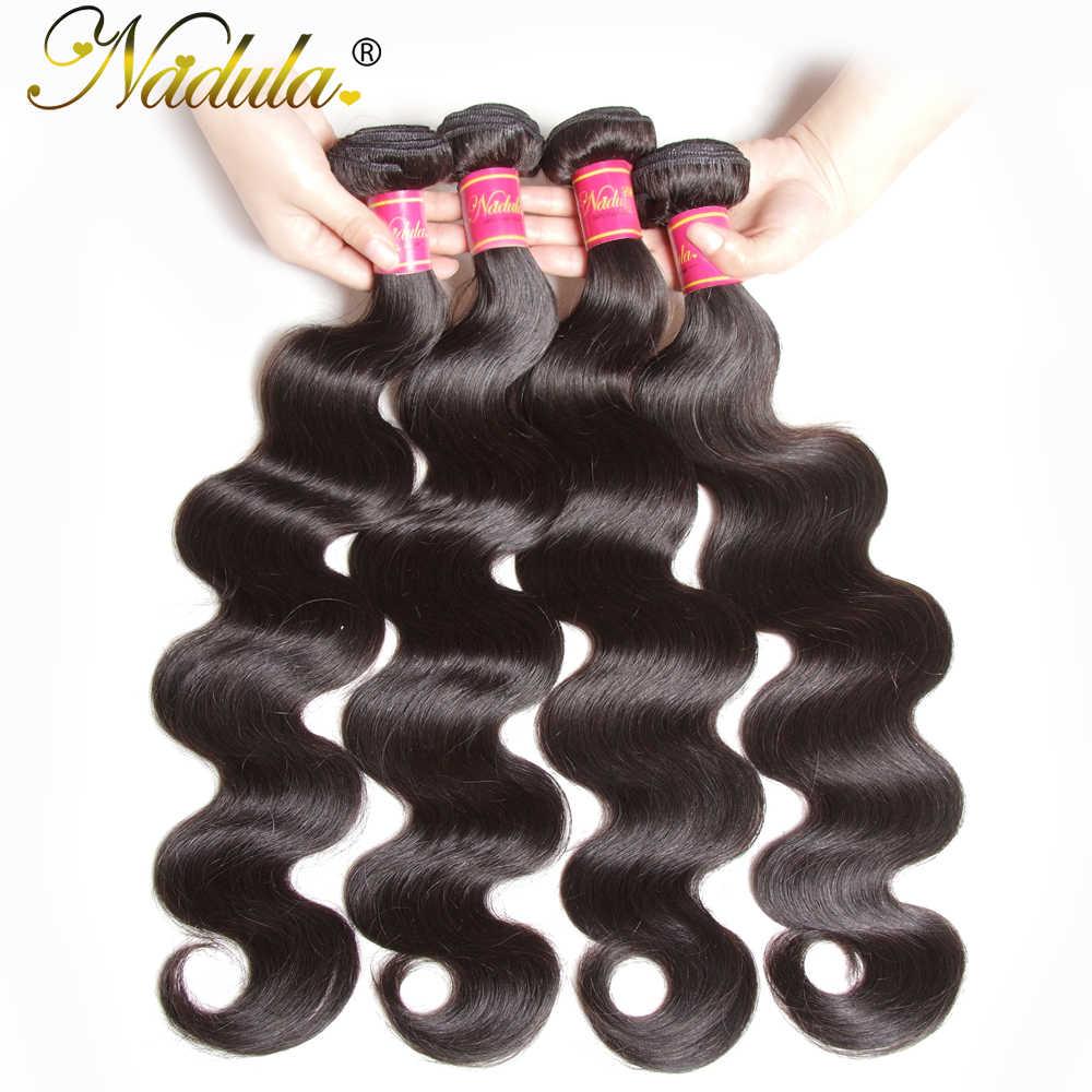 Nadula Hair Brazilian Body Wave Human Hair Weaves 3PCS/4PCS Brazilian Hair Body Wave Bundles Virgin Hair 8-30inch Natural Color