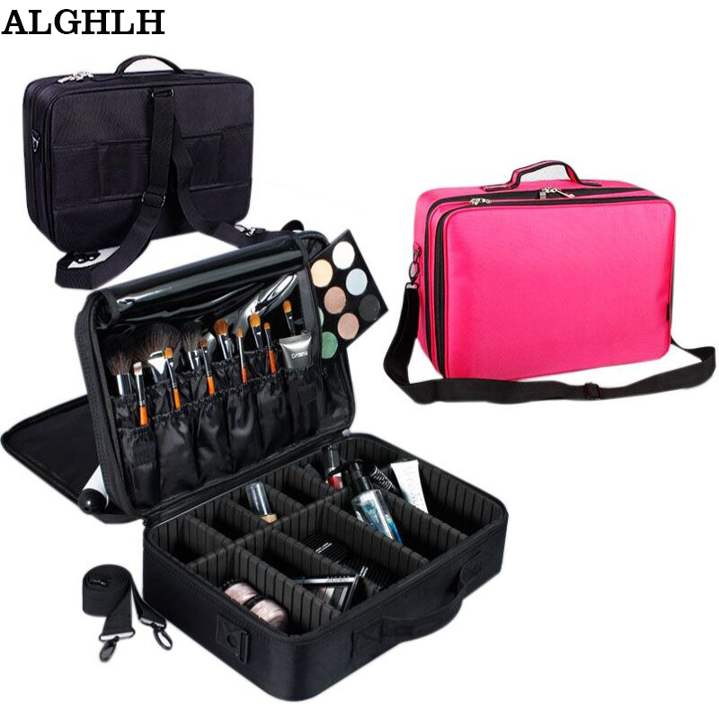 ALGHLH Brand Upgrade Adjustable Women Professional Makeup Bag Travel Waterproof Organizer Tattoo Nail Art Tool Storage Box