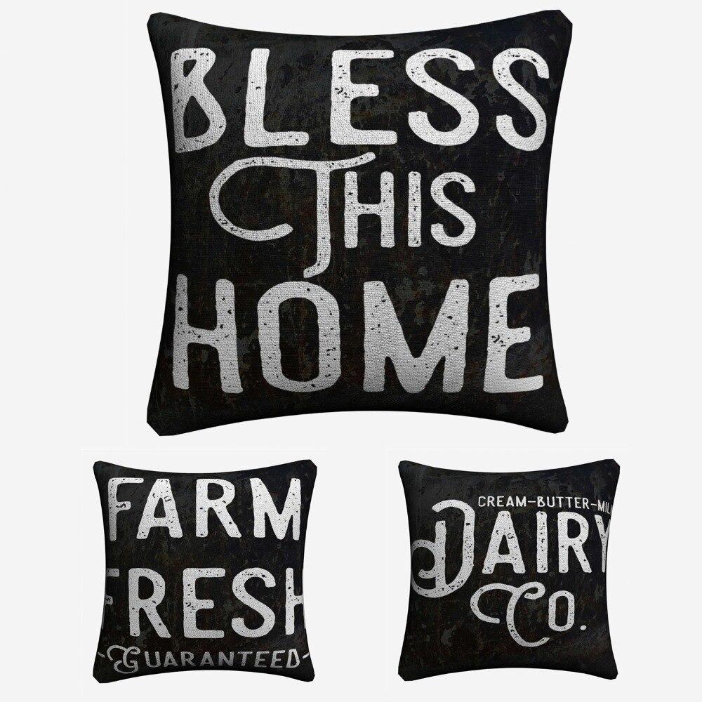 Quinta cozinha Citação Decorativa Cotton Linen Capa de Almofada de Impressão 45x45 cm Para Cadeira Do Sofá Almofada Fronha Home Decor
