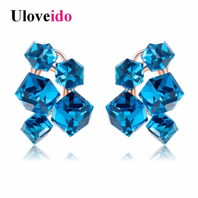 15% Off Fashion Geometric Cubic Zirconia Crystal Earrings for Women Red Jewelry Earrings with Stones Earings Brincos Aneis GR124