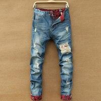 2017 Nieuwe Mode mannen Verontruste Jeans Met Gaten Zuur Gewassen Vintage Casual Denim Broek Jeans Straight Ripped Jeans Voor mannen