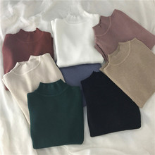 Red Beige Khaki Coffee Green Gray Black Brown Slim Turtleneck Sweater for Women Basic Pullovers Ladys Female Jumper