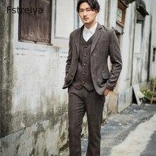 Мужские приталенные костюмы на заказ, мужские пальто, одежда на заказ, Костюм Джентльмена из твида, мужской пиджак, брюки, жилет